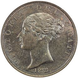 GREAT BRITAIN: Victoria, 1837-1901, AE halfpenny, 1853. NGC MS64
