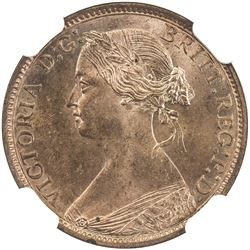 GREAT BRITAIN: Victoria, 1837-1901, AE farthing, 1873. NGC MS65