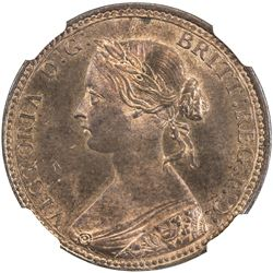 GREAT BRITAIN: Victoria, 1837-1901, AE halfpenny, 1860. NGC MS65
