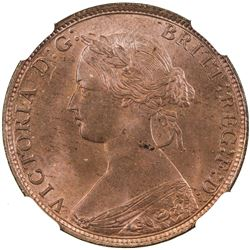 GREAT BRITAIN: Victoria, 1837-1901, AE halfpenny, 1861. NGC MS63