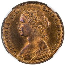 GREAT BRITAIN: Victoria, 1837-1901, AE halfpenny, 1876-H. NGC PF64