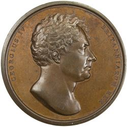 GREAT BRITAIN: George IV, 1820-1830, AE coronation medal (83.77g), 1821. UNC