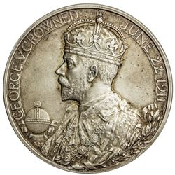 GREAT BRITAIN: George V, 1910-1936, AR coronation medal (85.49g), 1911. UNC