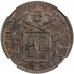 PAPAL STATES: Gregorio XVI, 1831-1846, AE baiocco, 1841-R anno XI. NGC MS63