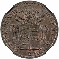 PAPAL STATES: Gregorio XVI, 1831-1846, AE baiocco, 1843-R anno XIII. NGC MS65