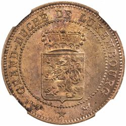 LUXEMBOURG: Willem III, 1849-1890, AE 5 centimes, 1889. NGC MS64