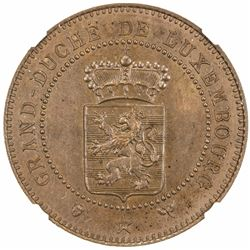 LUXEMBOURG: Willem III, 1849-1890, AE 10 centimes, 1889. NGC MS65