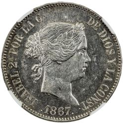 SPAIN: Isabel II, 1833-1868, AR escudo, Madrid, 1867. NGC MS63