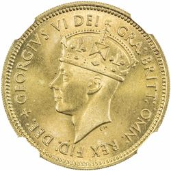BRITISH WEST AFRICA: George VI, 1937-1952, 1 shilling, 1952. NGC MS67