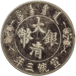 CHINA: Hsuan Tung, 1909-1911, AR dollar, year 3 (1911). VF