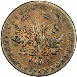 LOWER CANADA: AE halfpenny token (8.55g), ND (1837). EF-AU