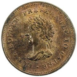 NOVA SCOTIA: AE penny token, 1838. MS63