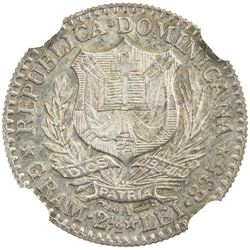 DOMINICAN REPUBLIC: AR 50 centesimos, 1891. NGC MS64