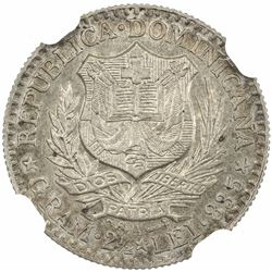 DOMINICAN REPUBLIC: AR 50 centesimos, 1891-A. NGC MS64