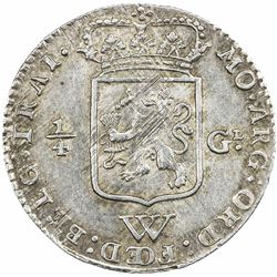 NETHERLANDS WEST INDIES: AR 1/4 gulden, 1794. EF-AU