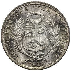 PERU: Republic, AR 1/5 sol, 1917. NGC MS67