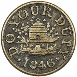 UNITED STATES:, 1846 AE token. VF