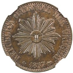 URUGUAY: Republic, AE 5 centesimos, 1857. NGC MS64