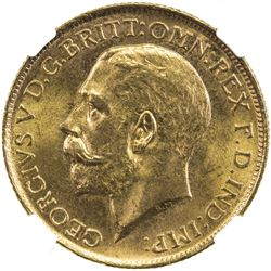 AUSTRALIA: George V, 1910-1936, AV sovereign, 1916-S. NGC MS64