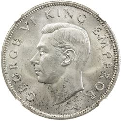 NEW ZEALAND: George VI, 1936-1952, AR 1/2 crown, 1937. NGC MS64