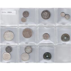 INDIAN STATES: LOT of 9 silver coins of Indian state and 3 miscellaneous silver coins