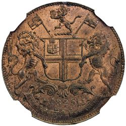 MADRAS PRESIDENCY: AE 2 pies, 1825//AH1240. NGC MS62