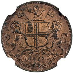MADRAS PRESIDENCY: AE pie, 1825//AH1240. NGC MS62