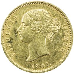 BRITISH INDIA: Victoria, Queen, 1837-1876, AV mohur (11.63g), 1841(c). EF