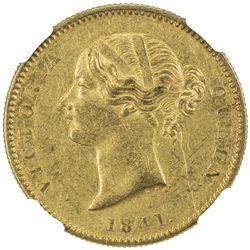 BRITISH INDIA: Victoria, Queen, 1837-1876, AV mohur, 1841. NGC AU