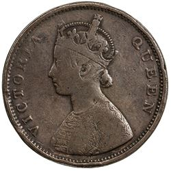 BRITISH INDIA: Victoria, Queen, 1837-1876, AE 1/2 anna, ND