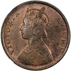 BRITISH INDIA: Victoria, Queen, 1837-1876, AE 1/2 anna, 1862(b)
