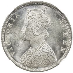 BRITISH INDIA: Victoria, Queen, 1837-1876, AR 1/2 rupee, 1862(b&m). NGC MS63