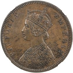 BRITISH INDIA: Victoria, Empress, 1876-1901, AE 1/2 anna, 1877(c)