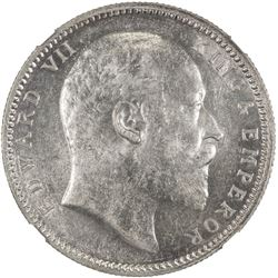 BRITISH INDIA: Edward VII, 1901-1910, AR rupee, 1903(c). NGC MS62
