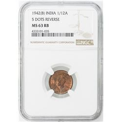 BRITISH INDIA: LOT of 10 copper 1/12 annas, all graded by NGC