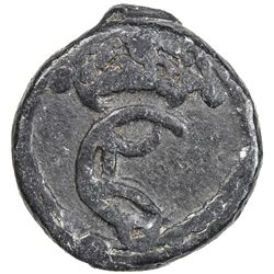 TRANQUEBAR: Christian V, 1670-1699, lead 2 kas (4.89g), ND. VF