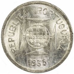 PORTUGUESE INDIA: AR rupia, 1935. PCGS MS65