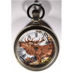 Silver Elgin open face pocket watch, Moose,