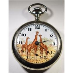 Elgin Giraffe Open Face Stem Pocket Watch,