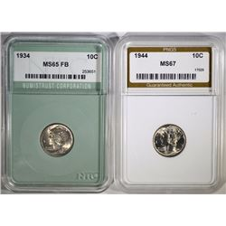 MERCURY DIMES: 1944 PNGS SUPERB GEM &