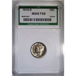 1916-S MERCURY DIME ANI GRADED GEM BU FSB