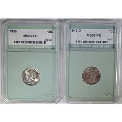 2 MERCURY DIMES: 1941-D SUPERB GEM FB &