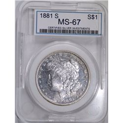 1881-S MORGAN DOLLAR CSI GRADED SUPERB GEM