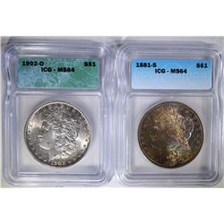 1881-S & 1902-O ICG MS64 MORGAN DOLLARS