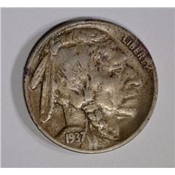 1937-D 3 LEGS BUFFALO NICKEL ABOUT XF