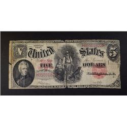 "1907 $5.00 U.S. NOTE ""WOODCHOPPER"""