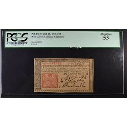 1776 18d NEW JERSEY COLONIAL CURRENCY PCGS 53