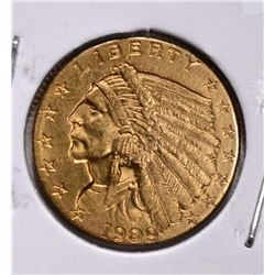 1909 $2 ½ GOLD INDIAN HEAD CH BU