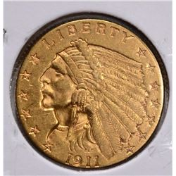 1911 $2 ½ GOLD INDIAN HEAD CU BU