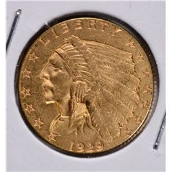 1929 $2 ½ GOLD INDIAN HEAD CH BU+